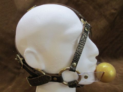 Leather Ancient Pharaoh Gold Full Head Harness Ballgag/Pacigag